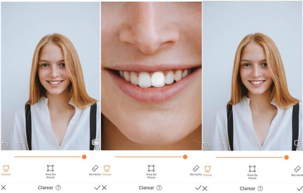Foto de uma mulher loira sorrindo para a câmera sendo editada pelo AirBrush
