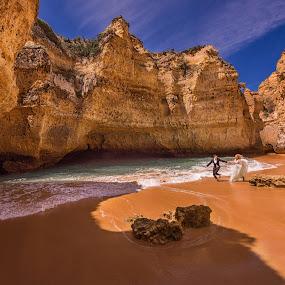 From Portugal with love! by Marius Igas - Wedding Bride & Groom ( sand, cliffs, rocks, portugal, beach, algarve )