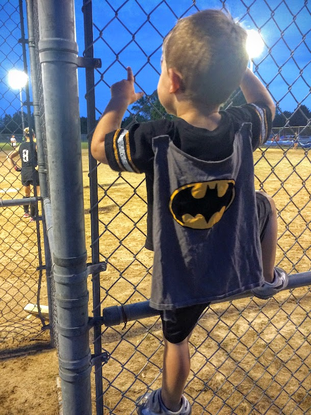 The weekend of the 19th brought a huge adult softball tourney to the park we stay at. We had Batman for the weekend, and he scaled the fences.