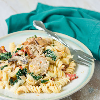 Sun-dried Tomato, Kale, & Chicken Sausage Pasta Bake.
