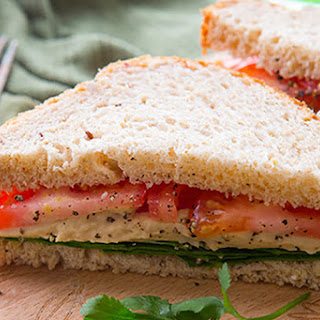 Tomato, Hummus, and Spinach Sandwich.