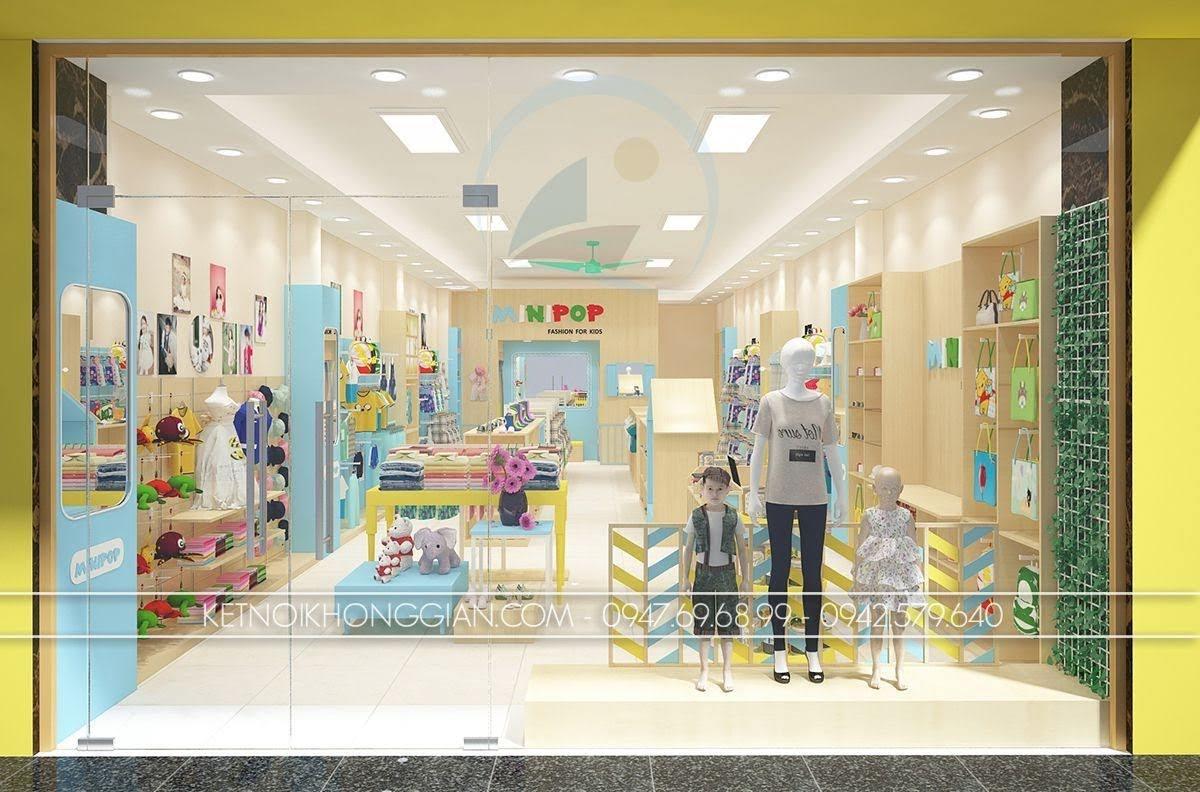 thiết kế shop thời trang trẻ em ấn tượng