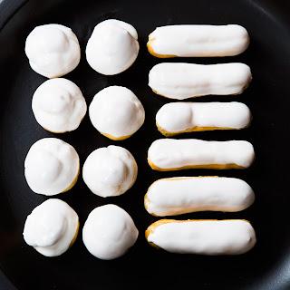 Pistachio Cream-Filled Eclairs and Cream Puffs.