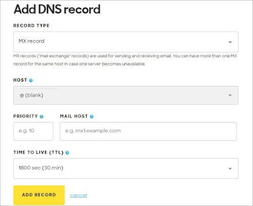 Add DNS record pane for adding an MX record is open.
