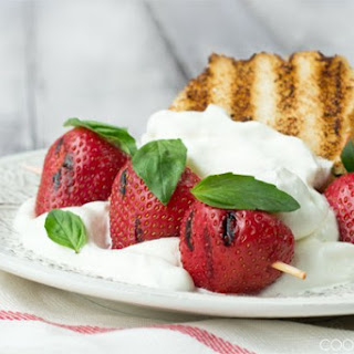 Grilled Strawberry Shortcake with Lemon and Basil Whipped Cream.