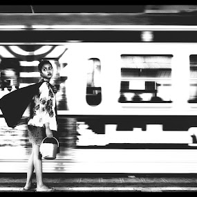 I miss my train by Aditya Kristanto - People Street & Candids ( jamu, girl, black and white, street, human interest, train, jakarta )