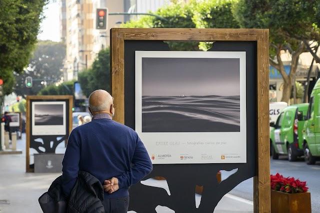 Un peatón observa una de las imágenes que pueden verse en el Paseo de Almería.
