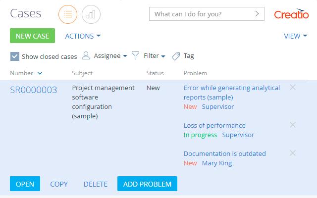 Problem management helper for Creatio