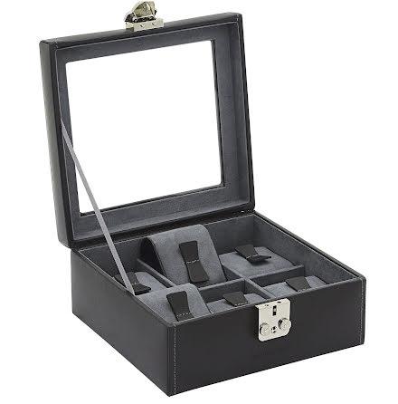 BOX FÖR 6 UR, SVART LÄDER MED GRÅ INREDNING 18x17x8,5 cm