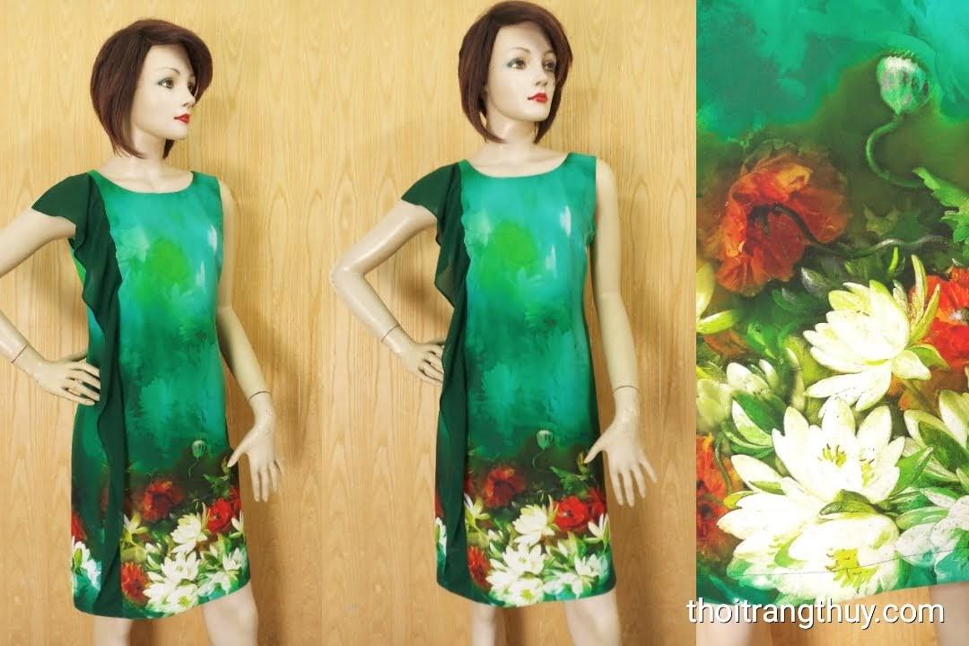 Váy suông phối bèo dọc thân váy họa tiết hoa V620 Thời Trang Thủy