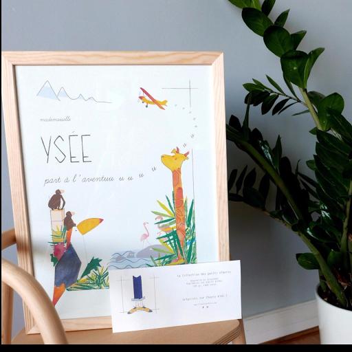Affiche personnalisée - cadeau de naissance anniversaire - thème de l'aventure et de la jungle - chambre d'enfant décoration Illustre Albert
