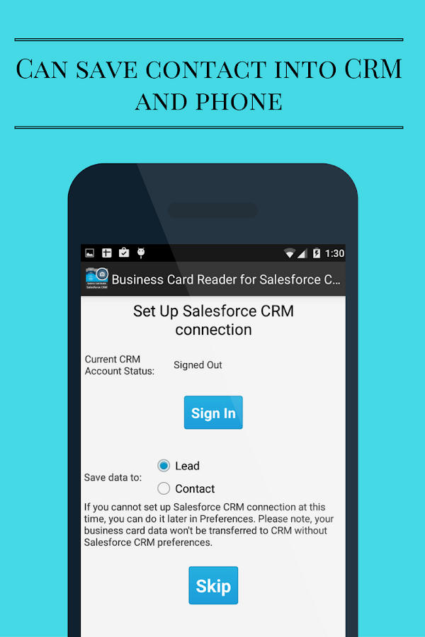 Free Business Card Reader for Salesforce CRM- screenshot