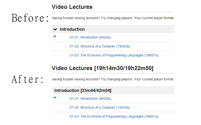 Coursera Video Time Summary