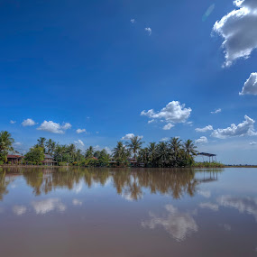 My Village by Zul Murky - Landscapes Prairies, Meadows & Fields ( water, reflection, blue sky, hdr, village, cloud, landscape )