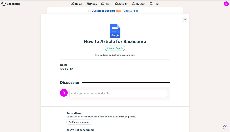 Basecamp  uploaded file