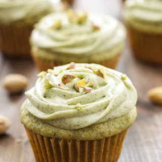 Pistachio Green Tea Cupcakes with Matcha Cream Cheese Frosting.
