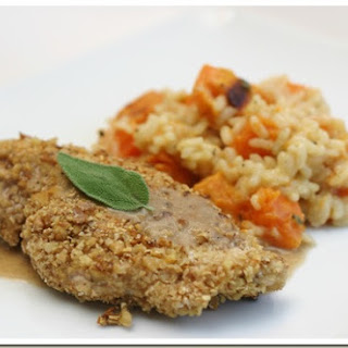 Walnut Crusted Chicken with a Cinnamon Sage Sauce.