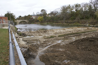 Photo: Looking upstream at the little dam and construction berm 10/28/13