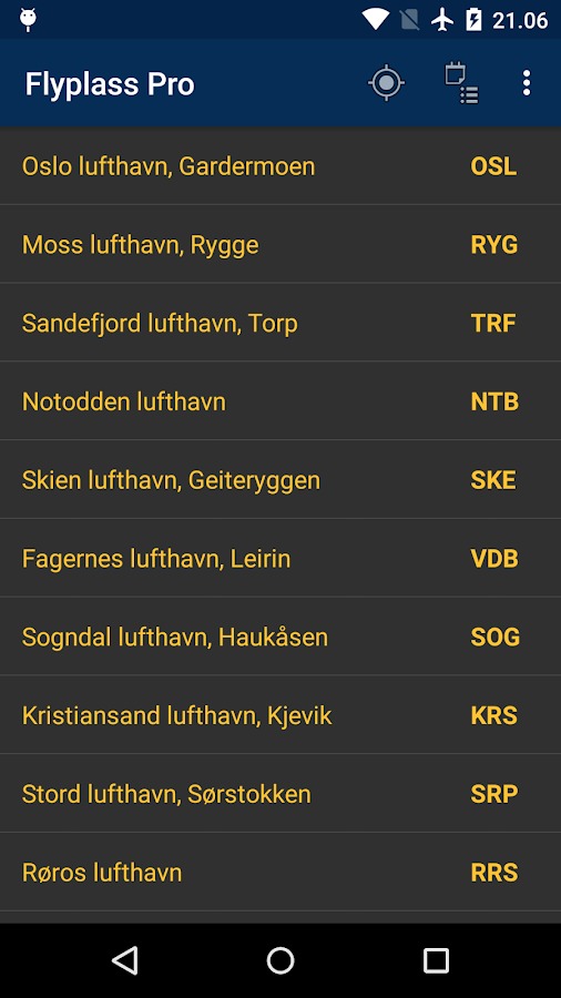 Airports in Norway- screenshot