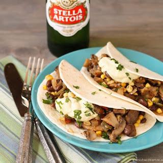 Mushroom, Corn and Poblano Soft Tacos with Avocado Cream Recipe