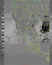 Photo: NOAA 19 northbound 34W at 30 Sep 2012 20:20:02 GMT on 137.10MHz, BD [sensor 4 (thermal infrared)] enhancement, Normal projection, Channel A: 2 (near infrared), Channel B: 4 (thermal infrared)