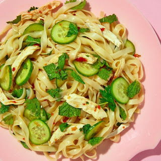 Cold Asian Noodle Salad with Chicken and Cucumbers
