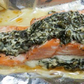 Stuffed Spinach And Cream Cheese Salmon Fillets.