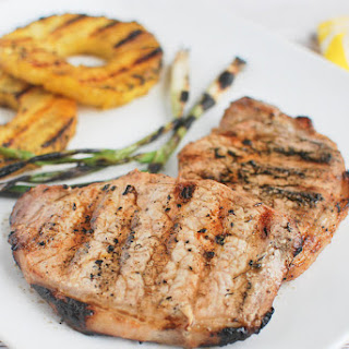 Grilled Ginger-Sesame Pork Chops with Pineapple and Scallions.