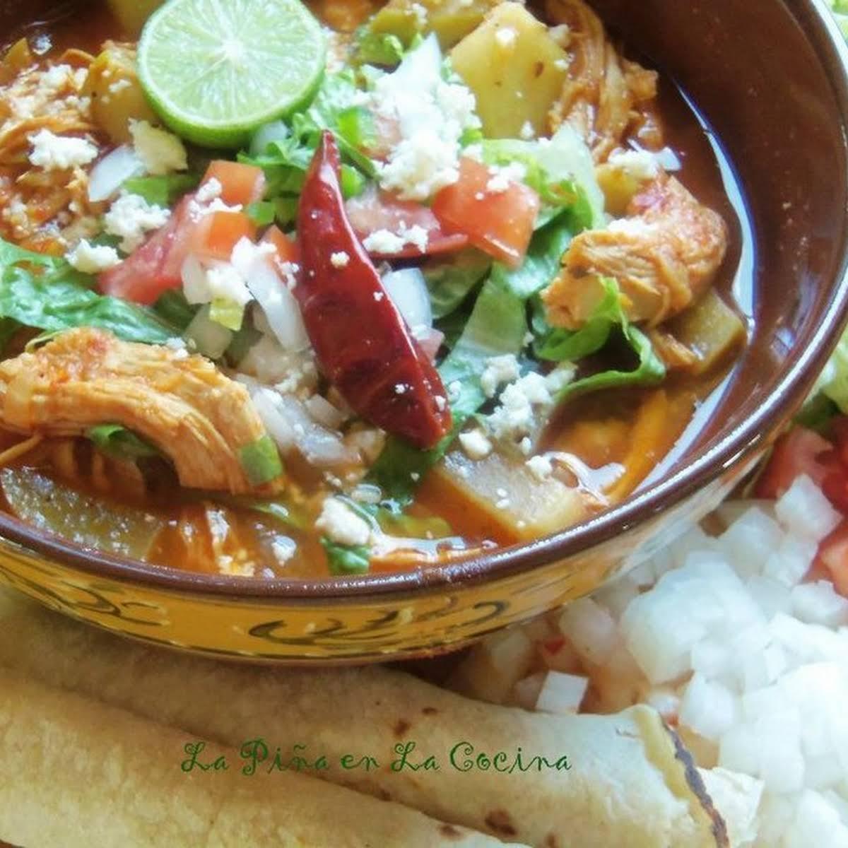 Chicken Enchilada Soup  afterward Chayotes