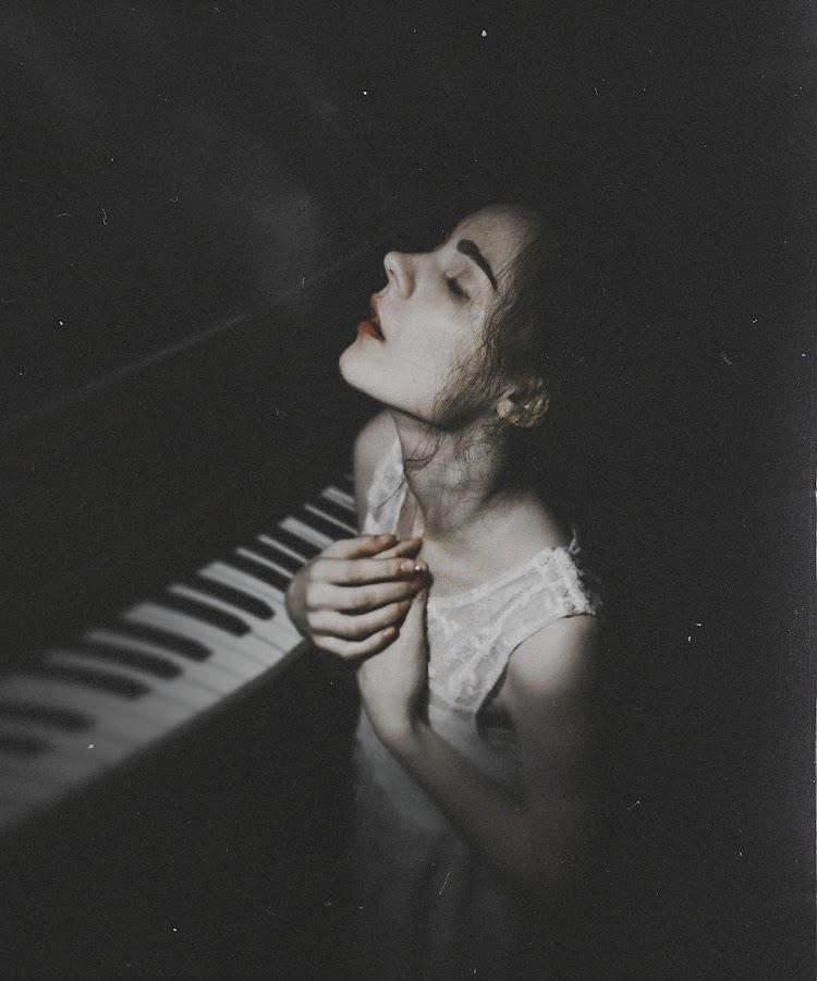 Gentle by Natalia Drepina - People Portraits of Women ( piano, gentle, fragile, red lips, breath )