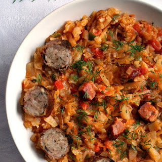 Braised Cabbage With Ham And Sausages.