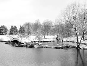 Photo: Black and white photo of a snowy bridge over a pond at Cox Arboretum in Dayton, Ohio.