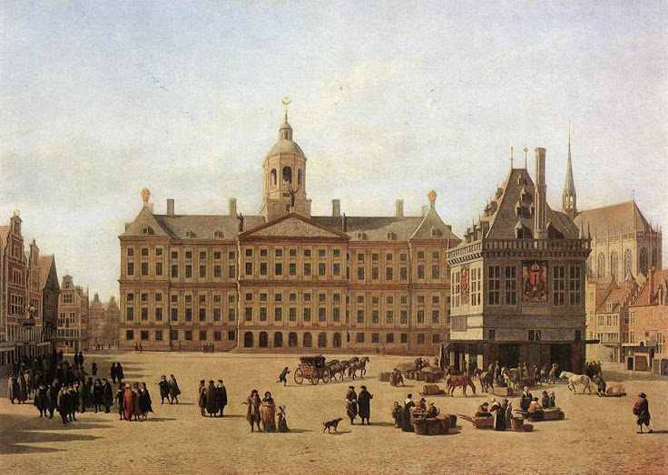 "Dam Square as it looked in the 1600s before a fire burnt down old Amsterdam town hall. ""Amsterdam Damsquare"" by Gerrit Adriaensz. (Licensed under Public Domain via Wikimedia Commons)."