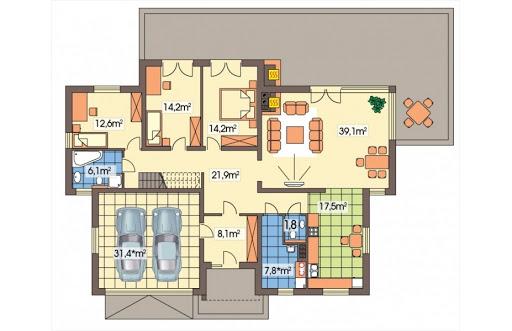 Agatka wersja B dach 32 stopnie - Rzut parteru