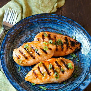 Apricot Bourbon BBQ Grilled Chicken Breasts.