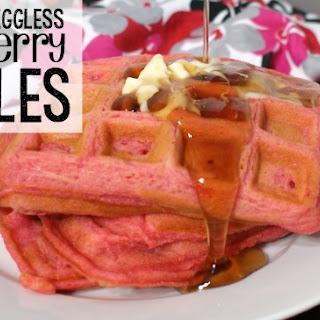 Eggless Strawberry Waffles.