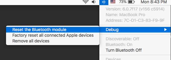 Select Debug > Reset the Bluetooth Module.