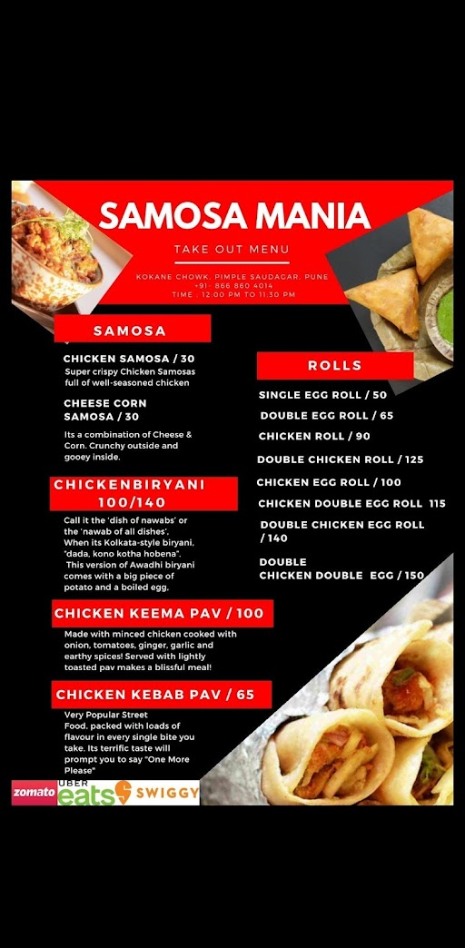 Samosa Mania menu 1