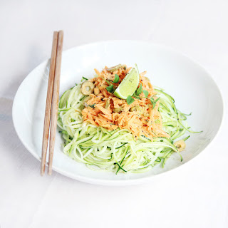 Raw Zucchini Pasta With Spicy Carrot Sauce