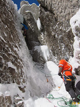 Photo: Thin, steep, and a tough lead up a solid WI4 climb on Slippery When Wet.