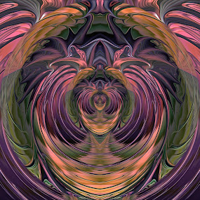 Green and Purple Symmetry by Pam Blackstone - Illustration Abstract & Patterns ( orange, heart, purple, green, lines, symmetry, fractal, curves )