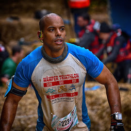 Strong Man by Marco Bertamé - Sports & Fitness Other Sports ( 2234, blue, determined, number, strongmanrun, race, running, competition )
