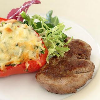 Chili Lime Steaks with Stuffed Peppers.