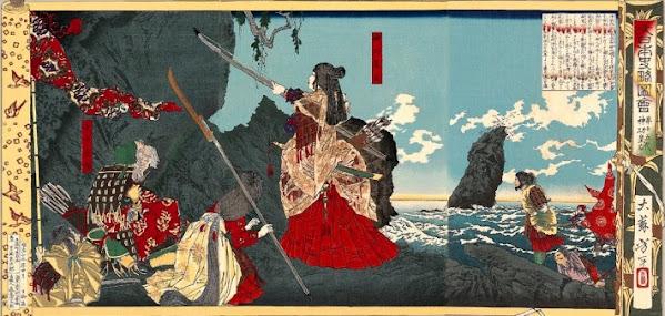 La Emperatriz Consorte Jingū神功皇后 en su imbacion al reino que hoy conocemos como corea