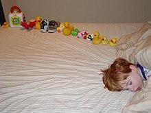 Sleeping boy beside a dozen or so toys arranged in a line