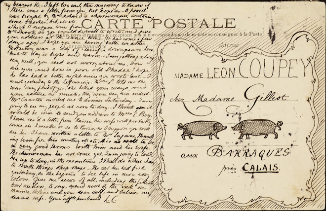 <p> <strong>L&eacute;on Coupey<br /> To Madame Leon Coupey (Baraques)</strong><br /> Ink on card<br /> 3 &frac12;&quot; x 5 &frac12;&quot;<br /> 1907</p> <p> Collection Joy Coupey, Toronto<br /> Set 6.4&nbsp;</p>