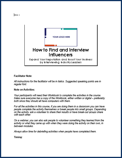 How to Find and Interview Influencers - Speaker Notes