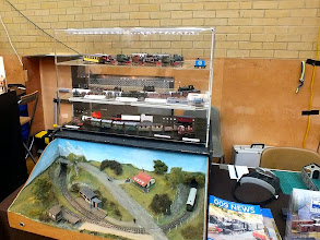 Photo: 010 The splendid Sussex Downs Group display case and demonstration layout on the 009 Society publicity stand .