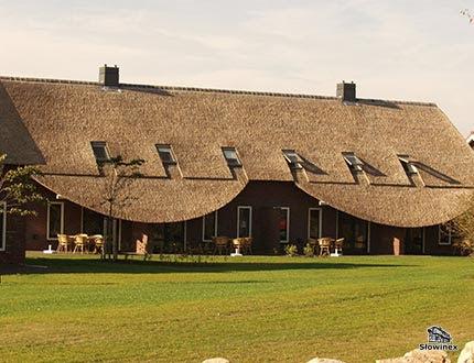 Podłużny dom z wielkim dachem trzcinowym otoczony równym trawnikiem