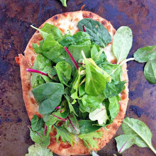 Superfood Salad Naan Pizza.